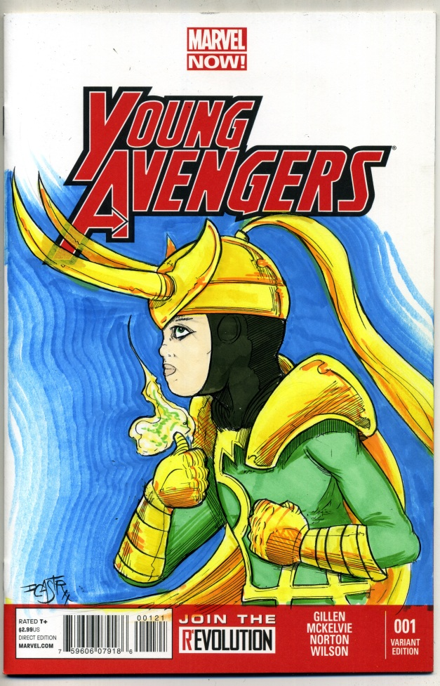 Loki sketch on Young Avengers #1 blank sketch cover