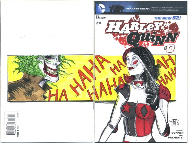 Harley Quinn with a joker on the back.