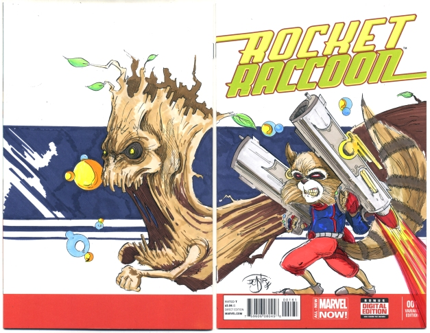 Rocket Racoon and Groot on ROcket Racoon #1 blank Variant